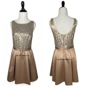 The Limited sequin satin belted a-line party dress